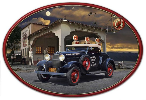 1932 Roadster at Jake's Oval Metal Sign 18 x 12 Inches