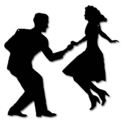 Swing Dancers Silhouette Metal Sign 17 x 17 Inches