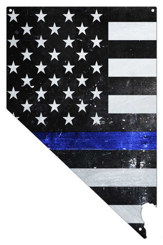 Nevada Thin Blue Line American Flag Metal Sign 14 x 22 Inches