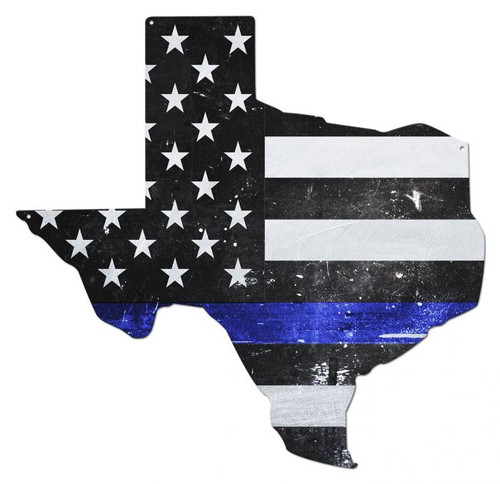 Texas Thin Blue Line American Flag Metal Sign 19 x 19 Inches