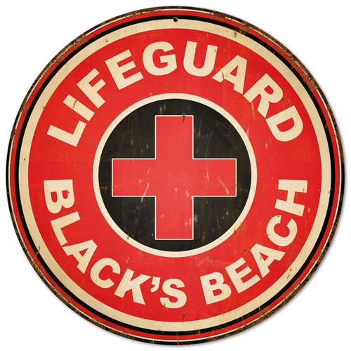 Lifeguard Blacks Beach Vintage Metal Sign 14 x 14 inches