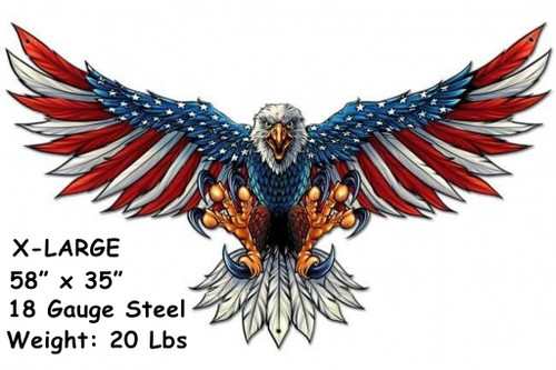 Eagle With US Flag Wing Spread Custom Shape Metal Sign 58 x 35 Inches