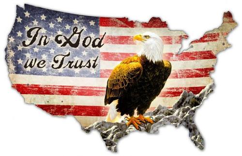 God We Trust USA XXL Custom Shape Metal Sign 57 x 36 Inches