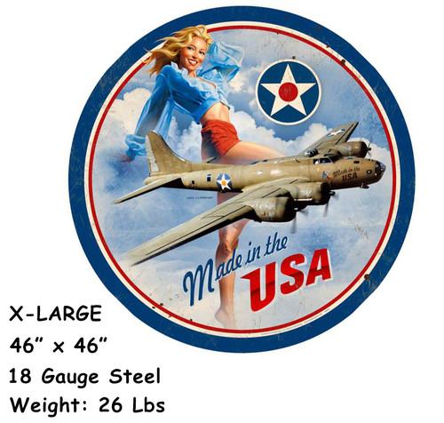 USA B17 XL 18 Gauge Metal Sign 46 x 46 Inches