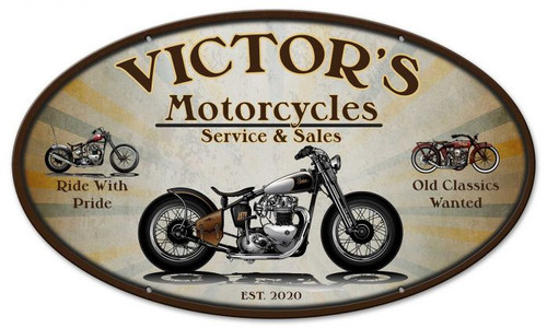 Motorcycle Sales Repair Oval Metal Sign - Personalized 24 x 14 Inches