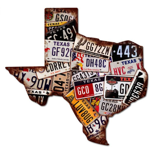 Texas License Plates Metal Sign 30 x 30 Inches
