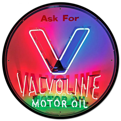 1950's Valvoline Neon Style Metal Sign 28 x 28 Inches