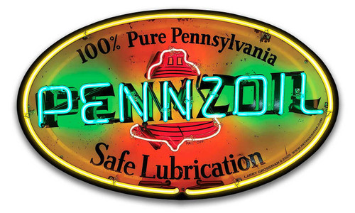 Pennzoil Neon Style Metal Sign 16 x 10 inches