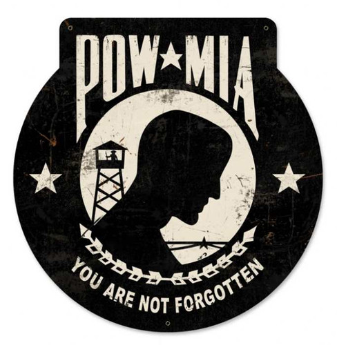 Retro POW MIA Metal Sign 16 x 16 Inches