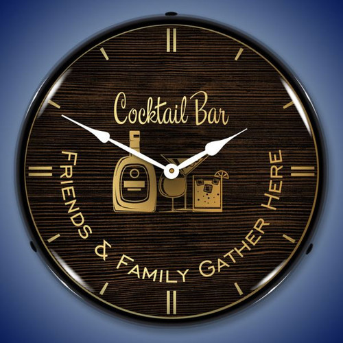 Cocktail Bar LED Lighted Wall Clock 14 x 14 Inches