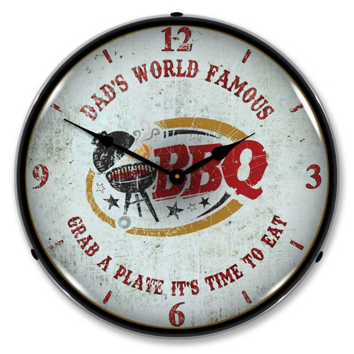 Dad's World Famous BBQ LED Lighted Wall Clock 14 x 14 Inches