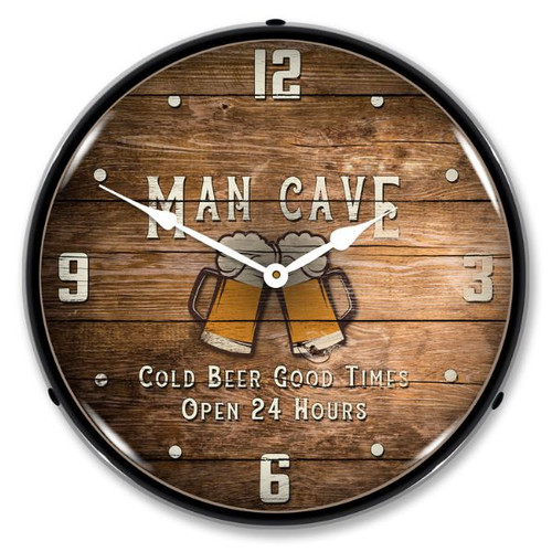 Man Cave LED Lighted Wall Clock 14 x 14 Inches