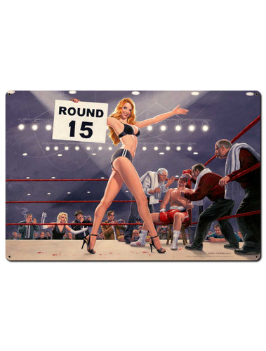 Fight Night Round 15 Pinup Girl Metal Sign 36 x 24 Inches
