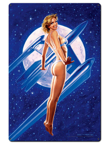 Fly Me To The Moon Pinup Girl Metal Sign 24 x 36 Inches
