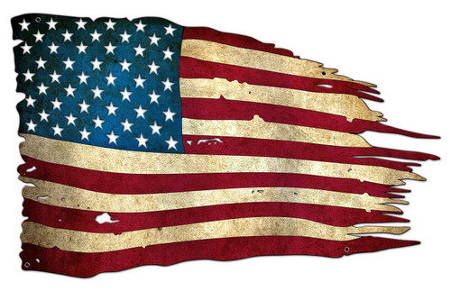 USA Flag Metal Sign 30 x 19 Inches