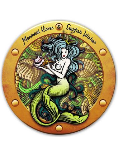 Mermaid Kisses Metal Sign 14 x 14 inches