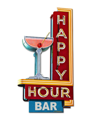 Happy Hour Bar Metal Sign 15 x 28 Inches