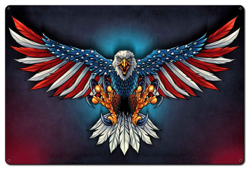 Eagle With US Flag Spread Metal Sign 36 x 24 Inches
