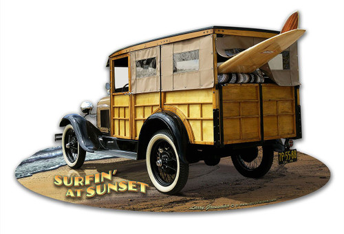1929 Woody at Sunset Cut-out Metal Sign 18 x 12 Inches