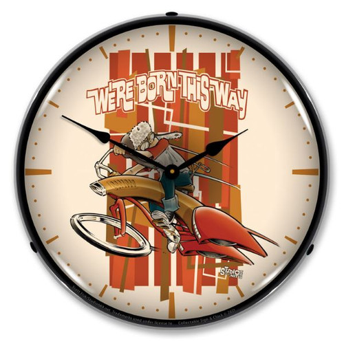 Boy Born This Way LED Lighted Wall Clock 14 x 14 Inches