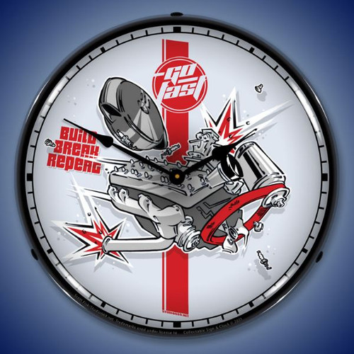 Build Break Repeat LED Lighted Wall Clock 14 x 14 Inches