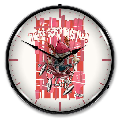 Girl Born This Way LED Lighted Wall Clock 14 x 14 Inches