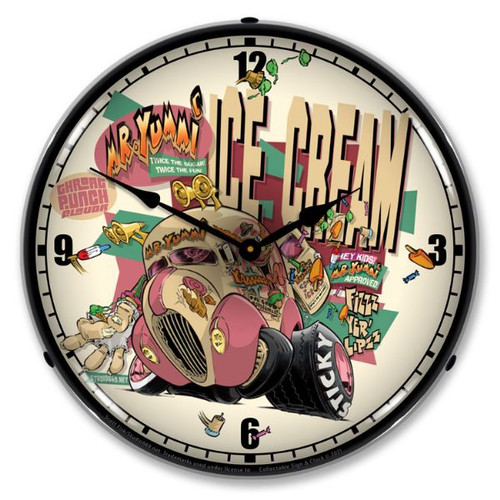 Mr. Yummi Ice Cream LED Lighted Wall Clock 14 x 14 Inches