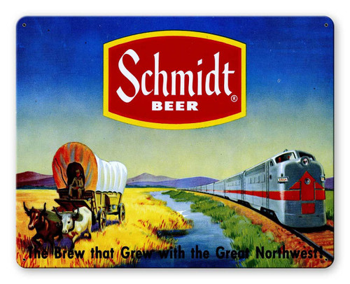 Schmidt Beer Ad Wagon Train Metal Sign 15 x 12 Inches