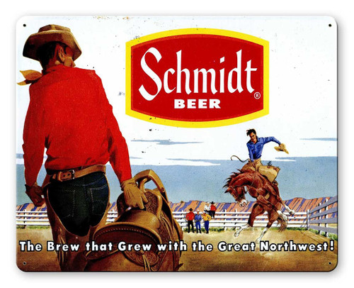 Schmidt Beer Ad Rodeo Metal Sign 15 x 12 Inches