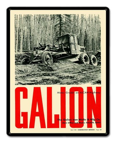 Galion Metal Sign 12 x 15 Inches