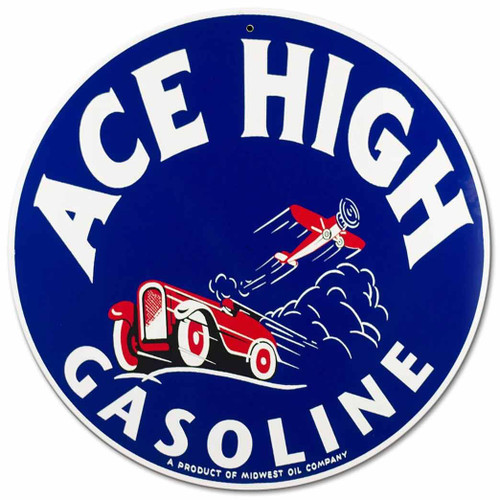 Ace High Gas Metal Sign 14 x 14 Inches