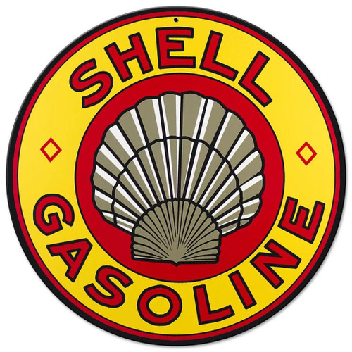 Shell Yellow Metal Sign 14 x 14 Inches