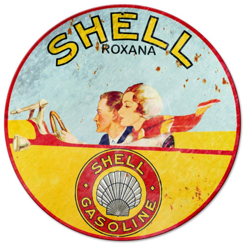 Shell Roxana Metal Sign 14 x 14 Inches