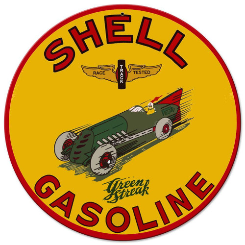 Shell Green Streak Metal Sign 14 x 14 Inches