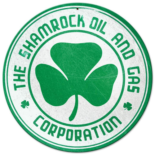 Shamrock Oil and Gas Metal Sign 14 x 14 Inches