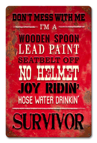 Survivor Metal Sign 12 x 18 Inches