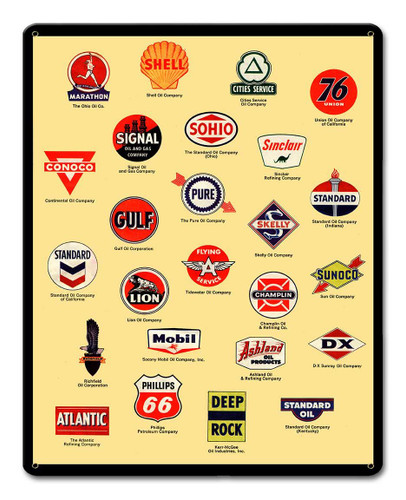 Gas Signs Collection Metal Sign 12 x 15 Inches