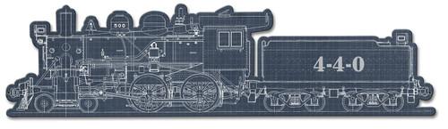 Train Blue Print 4-4-0 Metal Sign 32 x 8 Inches