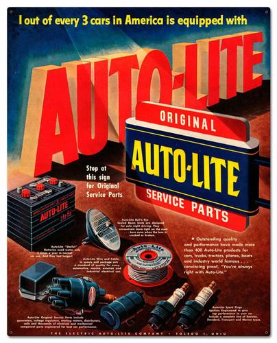 Auto Lite Service Parts Metal Sign 24 x 30 Inches