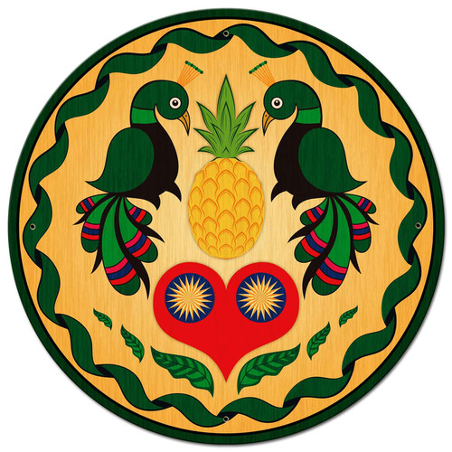 Peacocks and Heart Hex Metal Sign 28 x 28 Inches