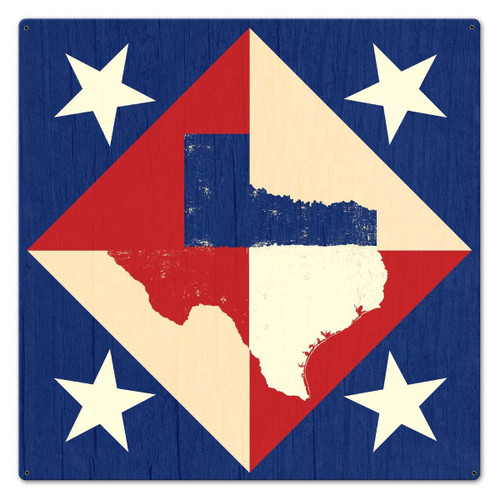 Texas Star Quilt  Metal Sign 24 x 24 Inches