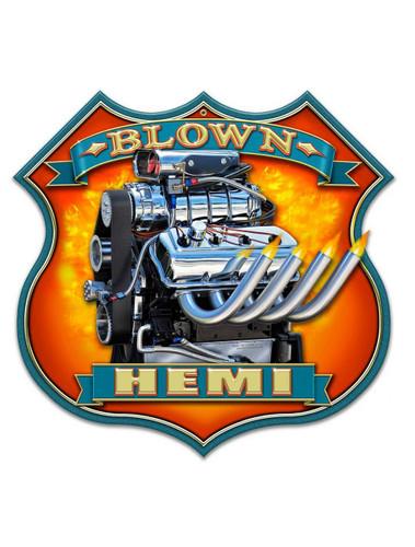 Blown HEMI Motor Metal Shape 18 x 18 Inches