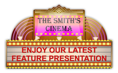 Home Theater Metal Sign - Personalized 24 x 14 Inches