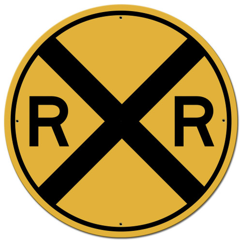 Railroad Crossing Round Metal Sign  28 x 28 Inches