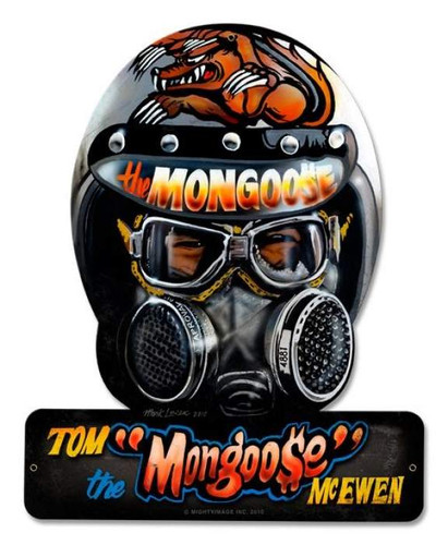 Retro Mongoose Helmet Metal Sign 15 x 12 Inches