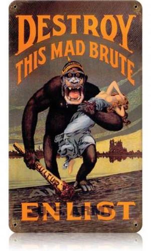 Vintage Destroy Kaiser Monkey Metal Sign 8 x 14 Inches