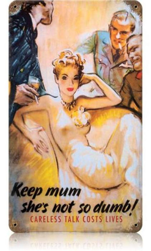 Vintage Keep Mum Metal Sign 8 x 14 Inches