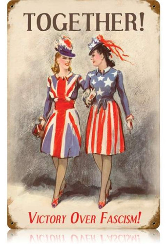 Vintage Sisters in Arms Metal Sign 12 x 18 Inches