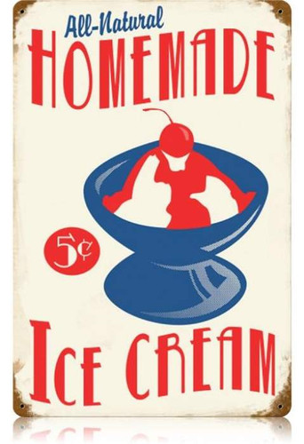 Vintage Homemade Ice Cream Metal Sign 12 x 18 Inches