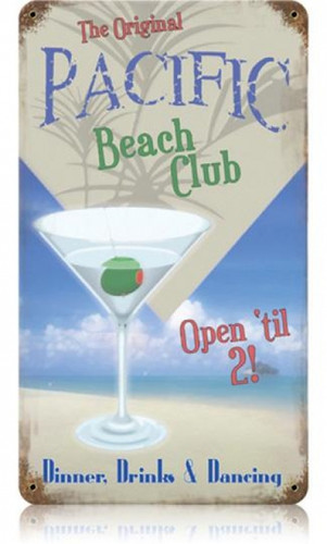 Vintage Pacific Beach Club Metal Sign 8 x 14 Inches